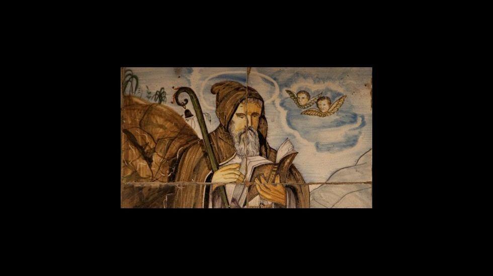 .Azulejo valenciano del siglo XIX que representa a san Antonio Abad. Ermita urbana de San Antonio Abad. Segorbe (Castellón)