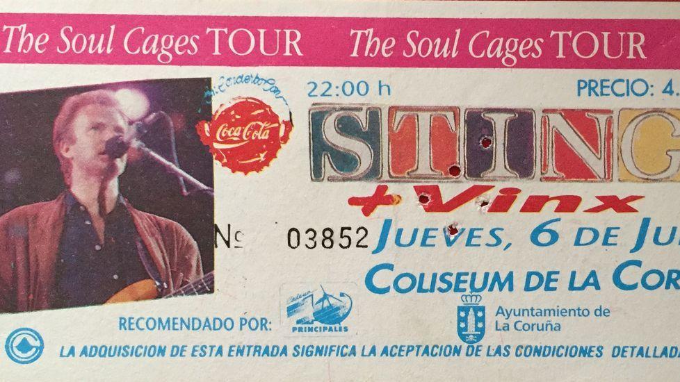 Entrada del concierto de Sting en A Coruña en 1991