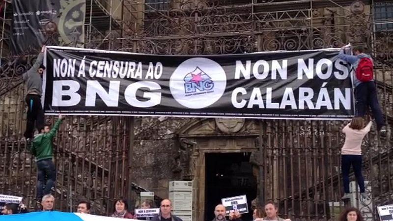 Acto reivindicativo del BNG en la Plaza del Obradoiro.La candidata Ana Miranda, al comienzo del mitin.