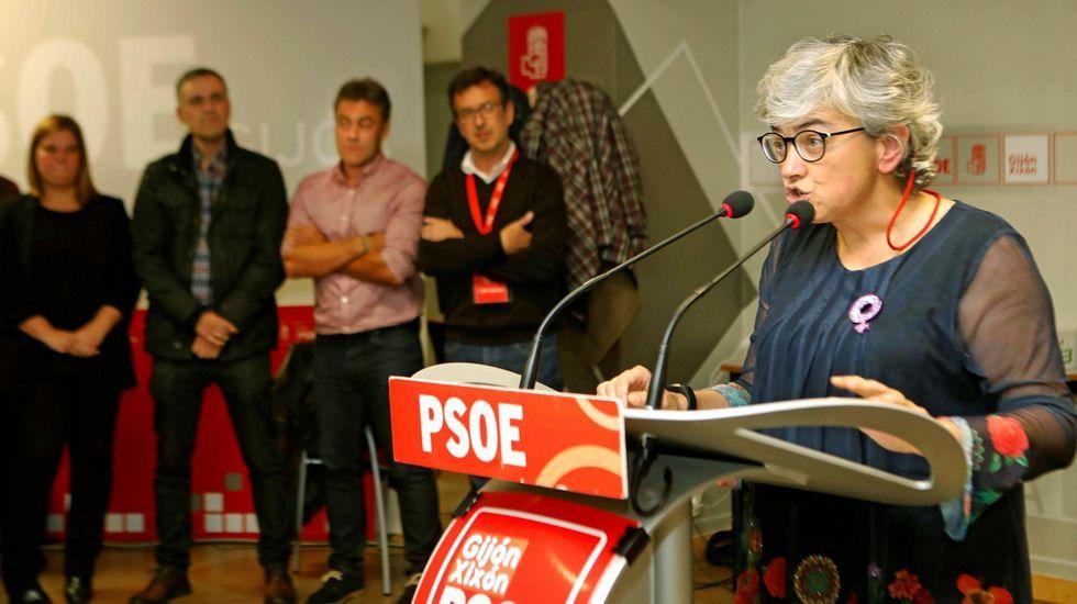 Vista aérea de La Providencia, enla costa de Gijón.Ana González, tras conocer su victoria en las primarias del PSOE gijonés, interviene en la Casa del Pueblo