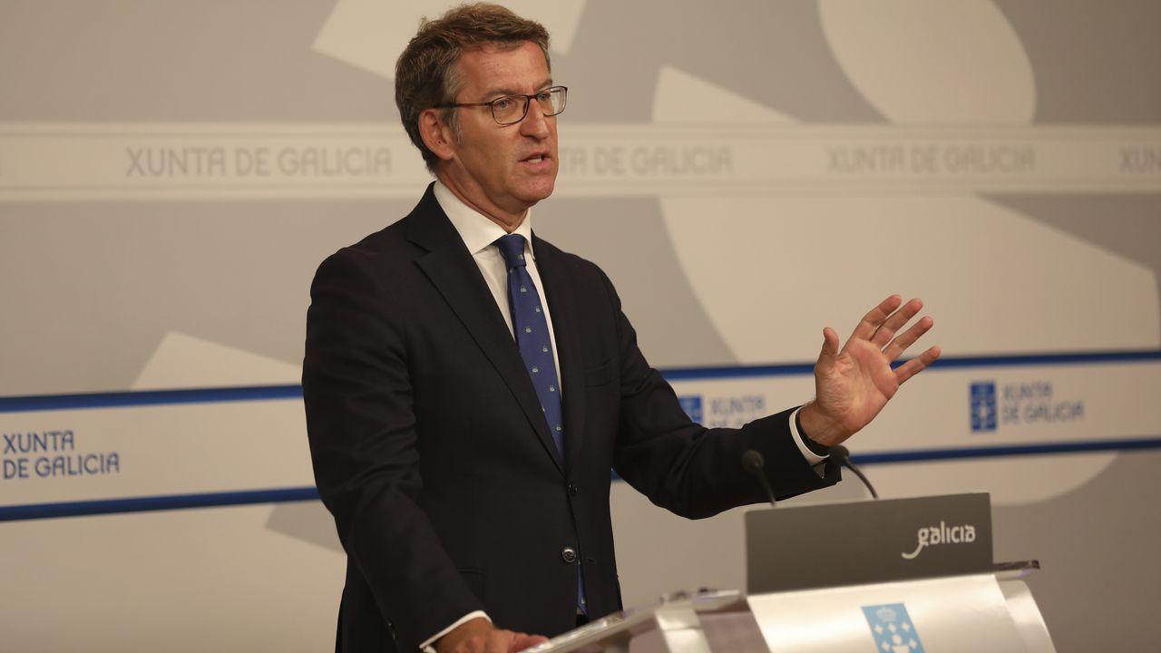El presidente Feijoo, ayer en la rueda de prensa posterior al Consello da Xunta