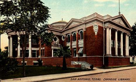 Postal da antiga Biblioteca Carnegy de San Antonio (Texas), un belo edificio xa demolido. O mundo está cambiando moi axiña