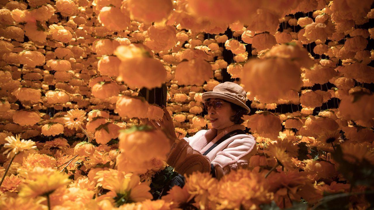 Una mujer hace fotos de la instalación artística «A Golden Year» (lit: un año dorado), realizada con 8.000 peonias y crisantemos, este jueves en Hong Kong, China