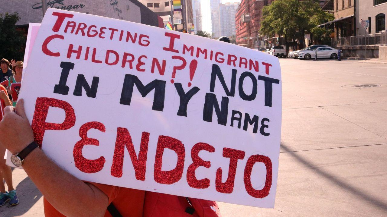 .Manifestación en Texas contra la separación de familias en la frontera con México