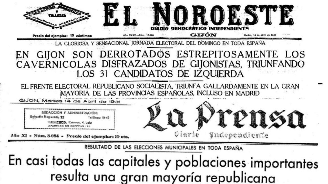 Portadas de los periódicos gijoneses 'El Noroeste' y 'La Prensa', tras el resultado de las elecciones municipales del 12 de abril de 1931
