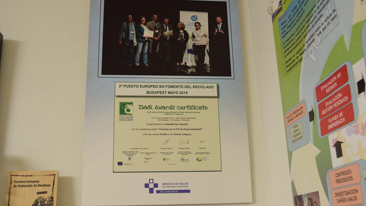 Certificado del segundo puesto europeo en fomento del reciclado, de 2015