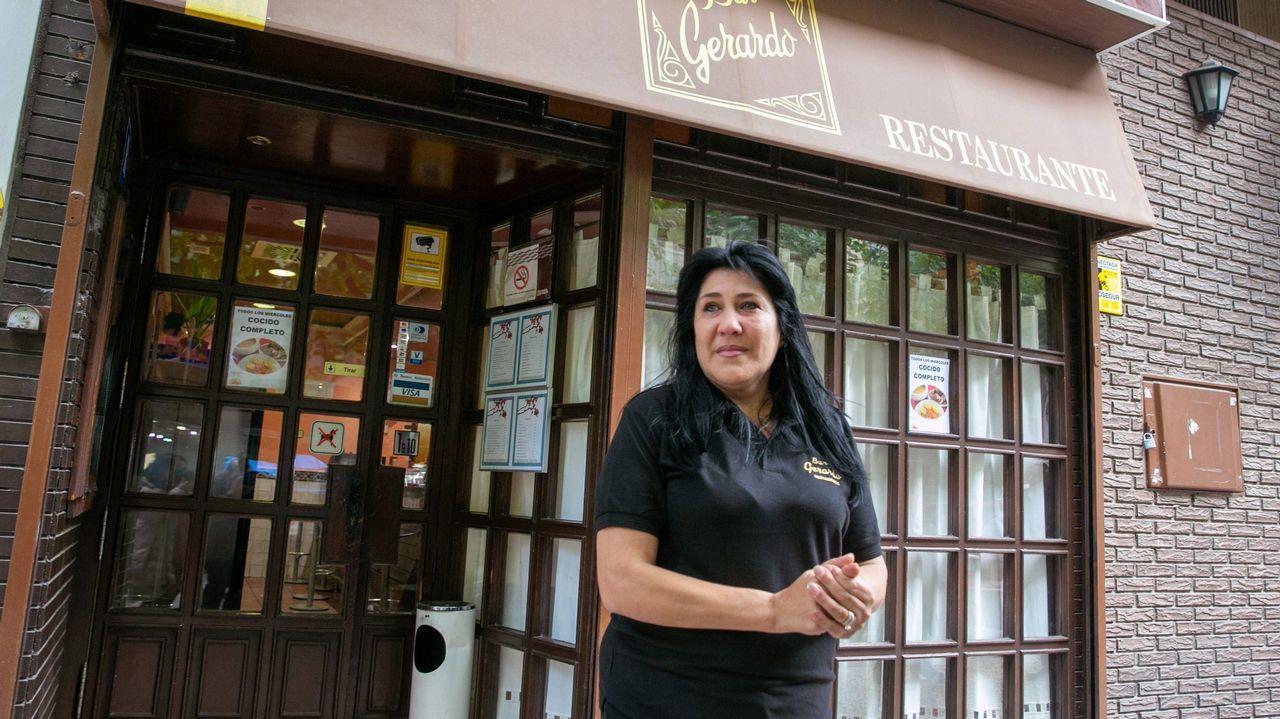 Raquel Contreras, dueña del restaurante Gerardo de Zaragoza, donde hoy ha sido detenido César Román, el empresario conocido como el  rey del cachopo