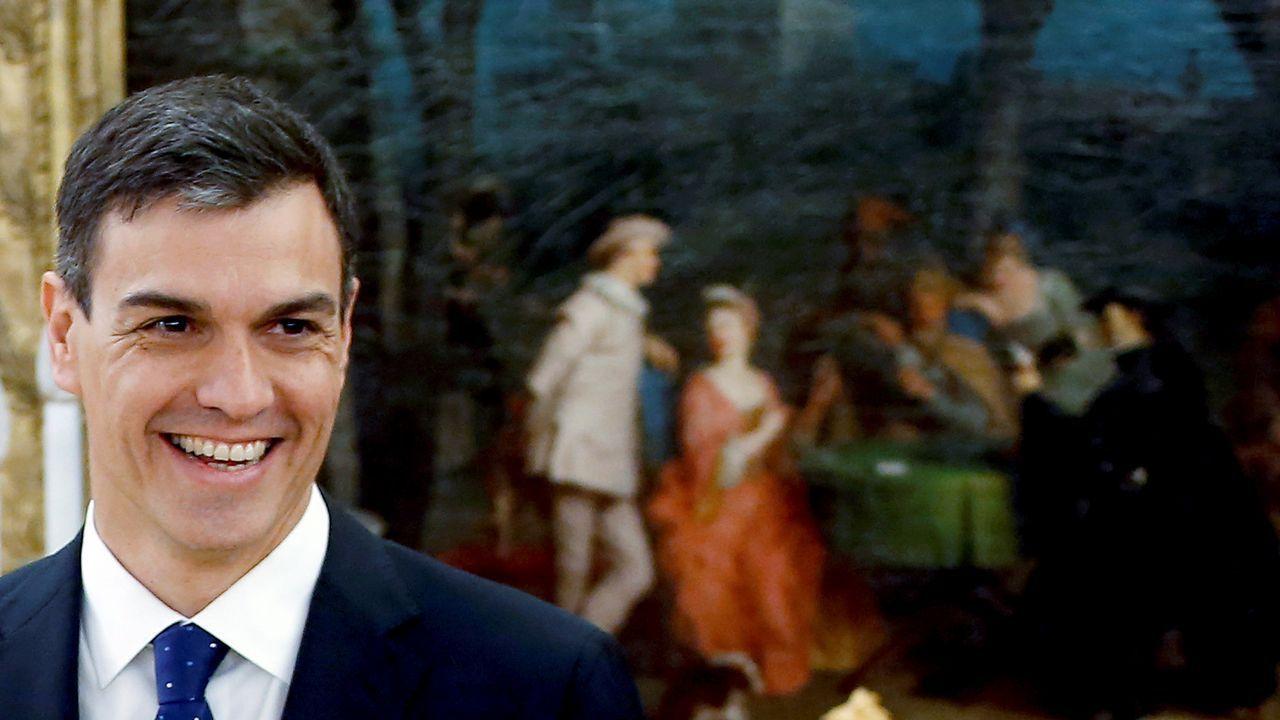 .El presidente del Gobierno, Pedro Sánchez, durante la toma de posesión de sus ministros