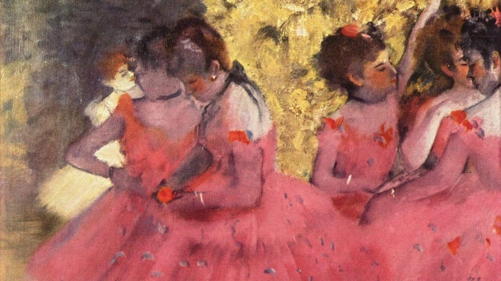 .«Bailarinas de rosa, intermedio en los bastidores» (1884), de Edgar Degas. Gliptoteca Ny Carlsberg (Copenhague)