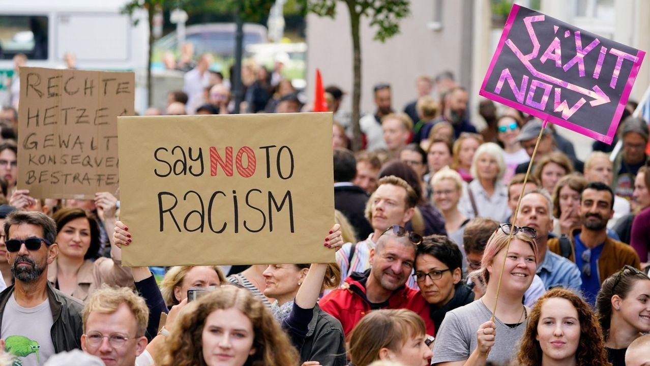 racismo, xenofobia.Manifestación contra el racismo en Berlín en agosto del 2018, tras un ataque de tintes xenófobos