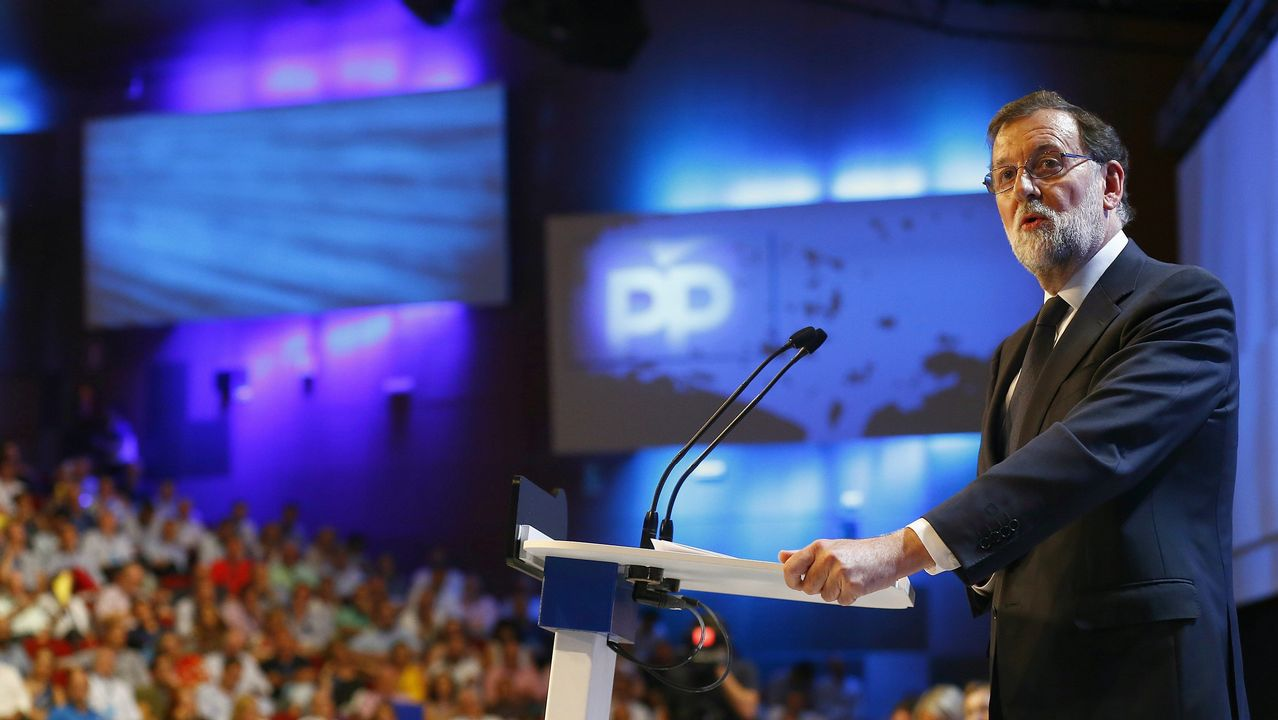 .El expresidente Mariano Rajoy, durante su discurso