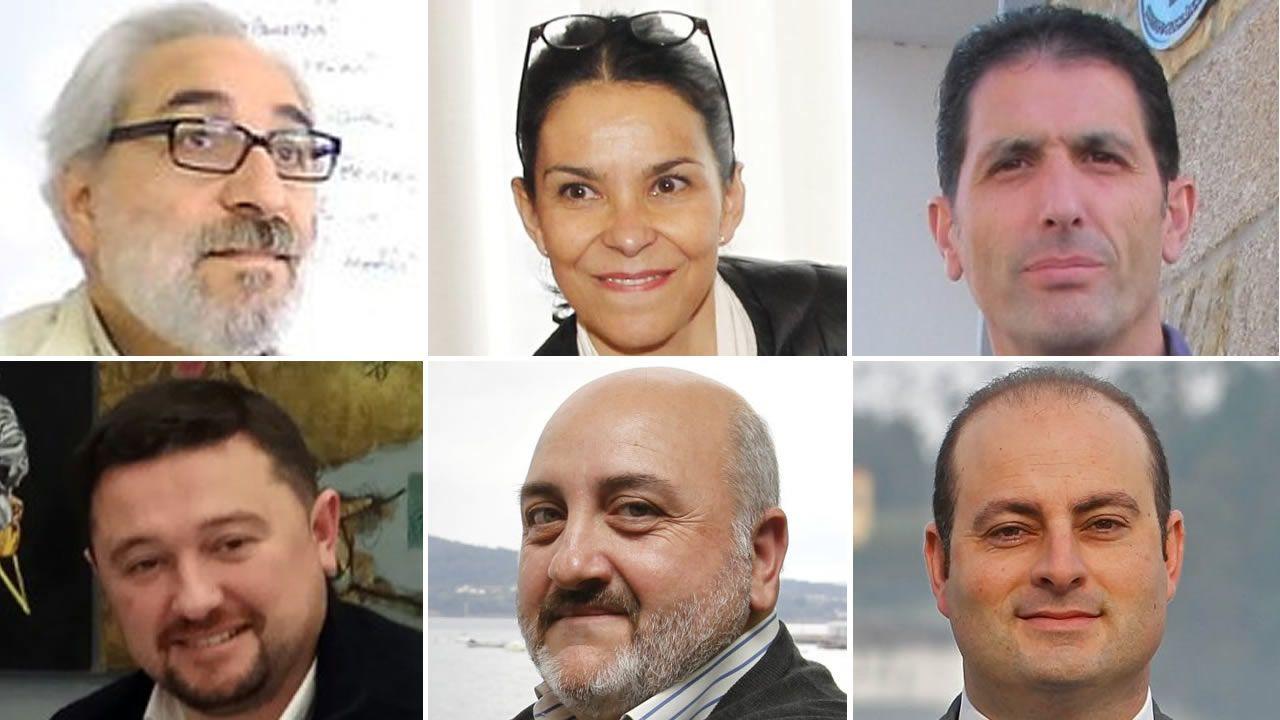 .De izquierda a derecha, de arriba abajo, Lois Fermín R. Vázquez, Mercedes Rosón, Javier G. Trillo, Alonso Pumar, Julio Iglesias y Diego Taibo