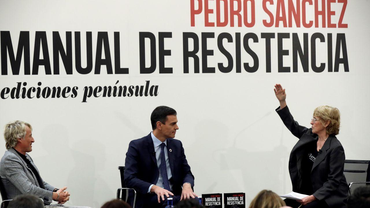 Pedro Sánchez presenta su libro acompañado por Mercedes Milá y Jesús Calleja.Inés Arrimadas y Albert Rivera