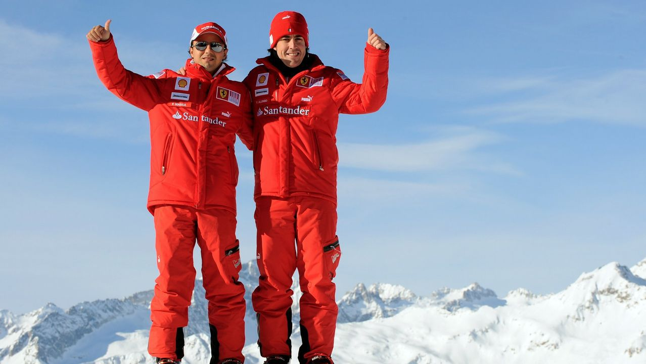 .Alonso y Massa en una de las clásicas jornadas de esqui organizadas por la escudería italiana en los Alpes Dolomitas