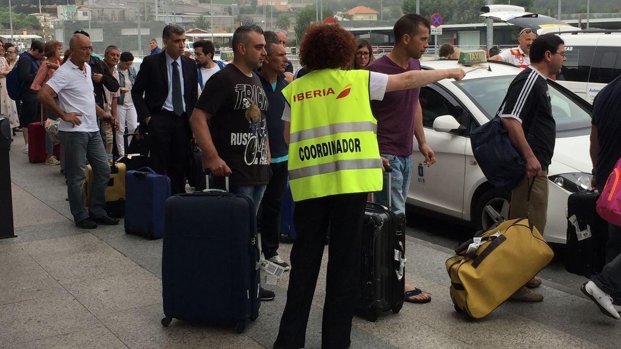¿Por qué es peligroso que un avión choque con un pájaro?.Un grupo de pasajeros consulta los vuelos en el Aeropuerto de Asturias