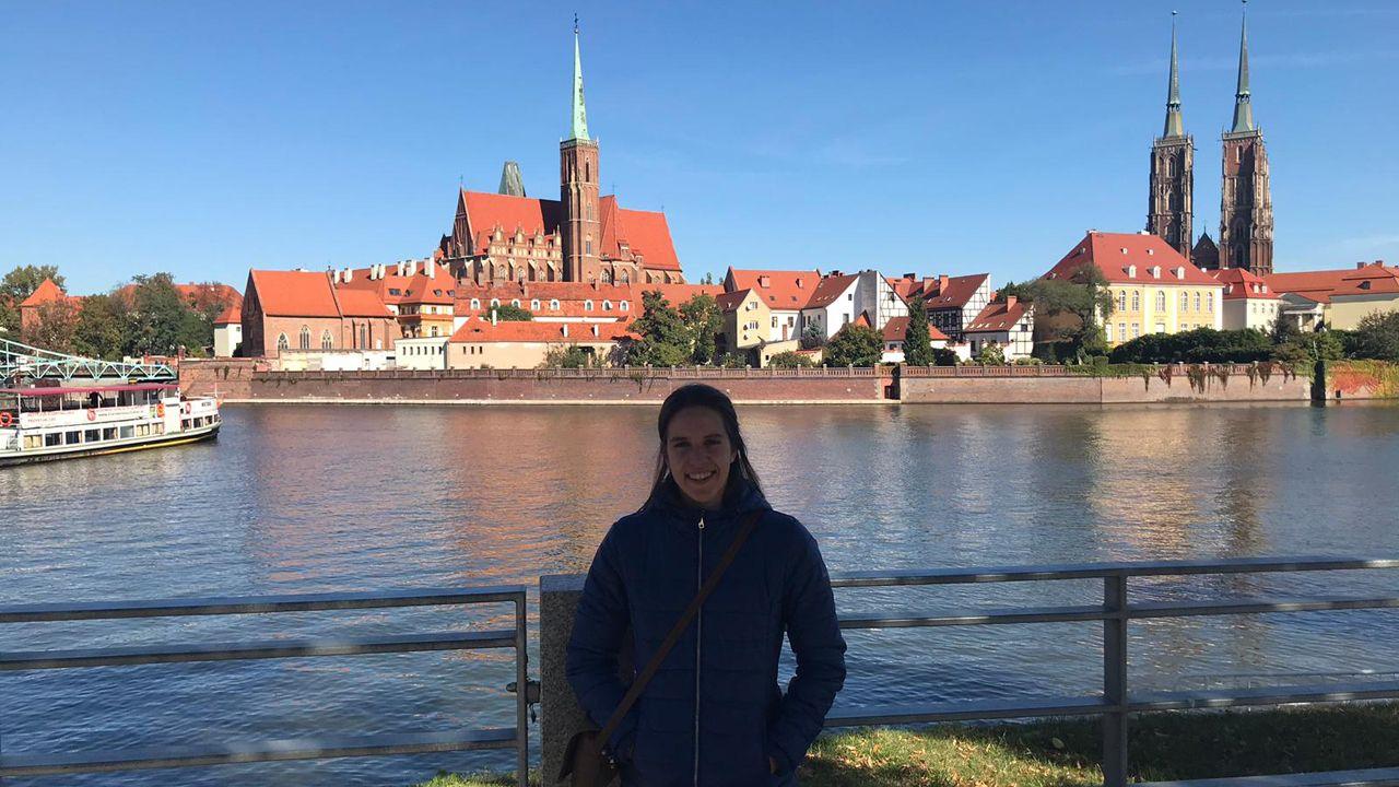 María Pérez Presa en la ciudad de Wroclaw, donde cursa su estancia de Erasmus