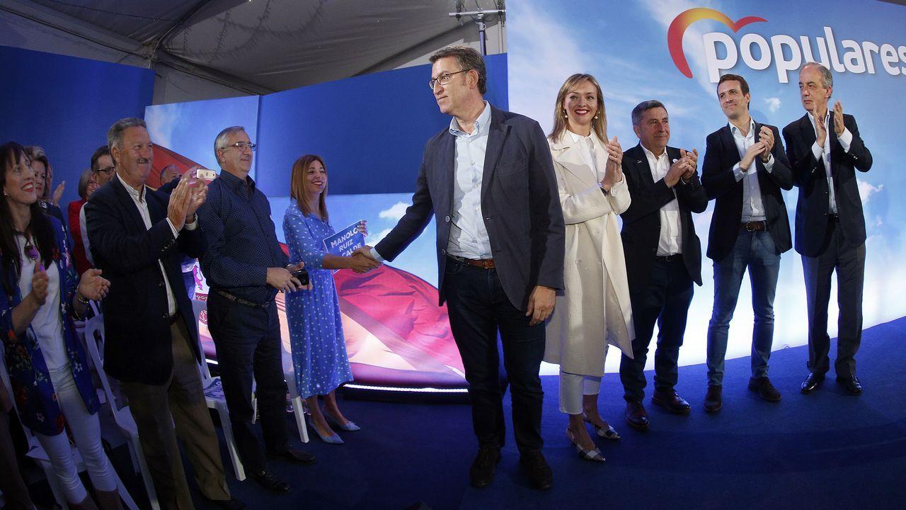 Mitin del PP en Ribeira con Núñez Feijoo y Pablo Casado apoyando al candidato popular a la alcaldía, Manuel Ruiz Rivas