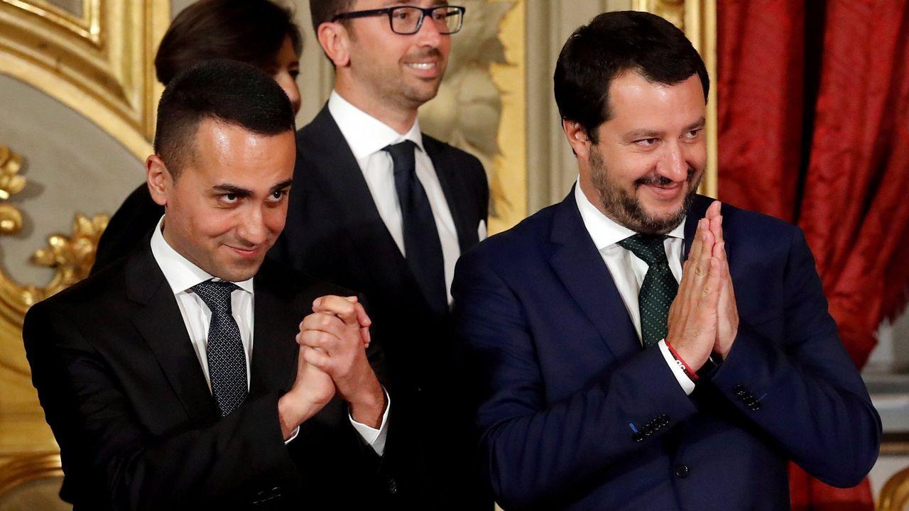 Podemos se vuelca con Alcoa y Arcelor.Di Maio y Salvini, durante su jura como ministros en junio del 2018 en el Quirinal