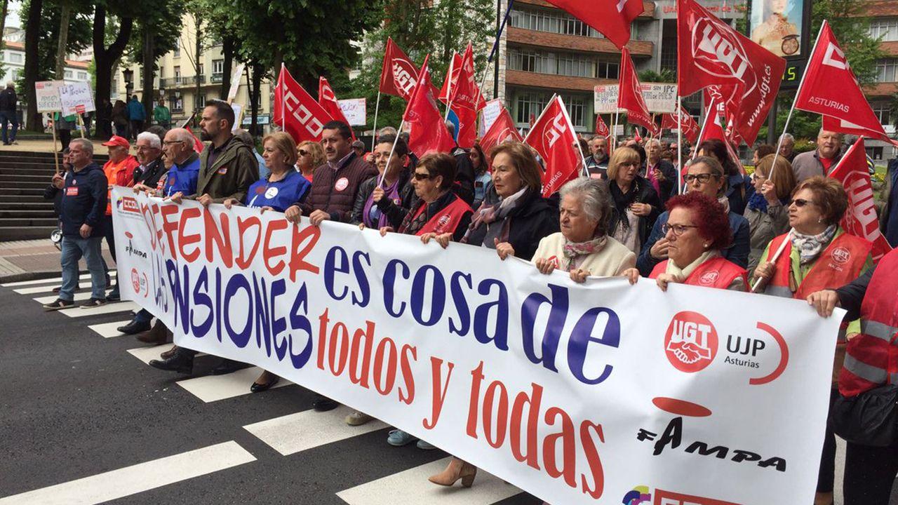 Movilizaciones para reclamar salarios dignos Oviedo CCOO.Manifestación en defensa de las pensiones públicas en Oviedo