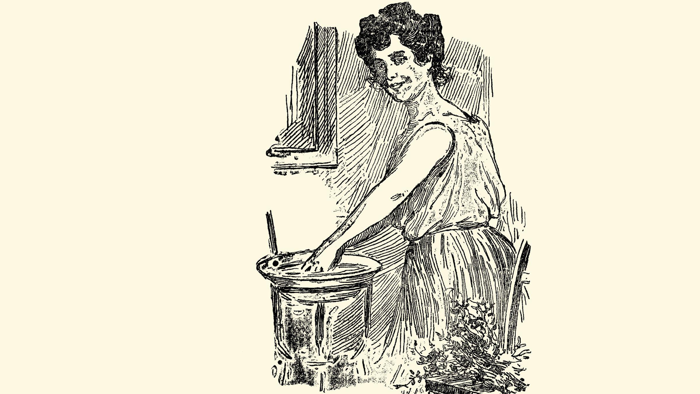 .Una muchacha prepara la típica agua de San Juan para la mañana del 24 de junio. «La matita de salvia, el pie de romero, la malva camuesa, la yerba buena, la reina Luisa, el laurel. Todo cayó al filo de la hoz [...] y sus sanos perfumes invadieron en gratísima oleada el ambiente», decía el pie de la ilustración.