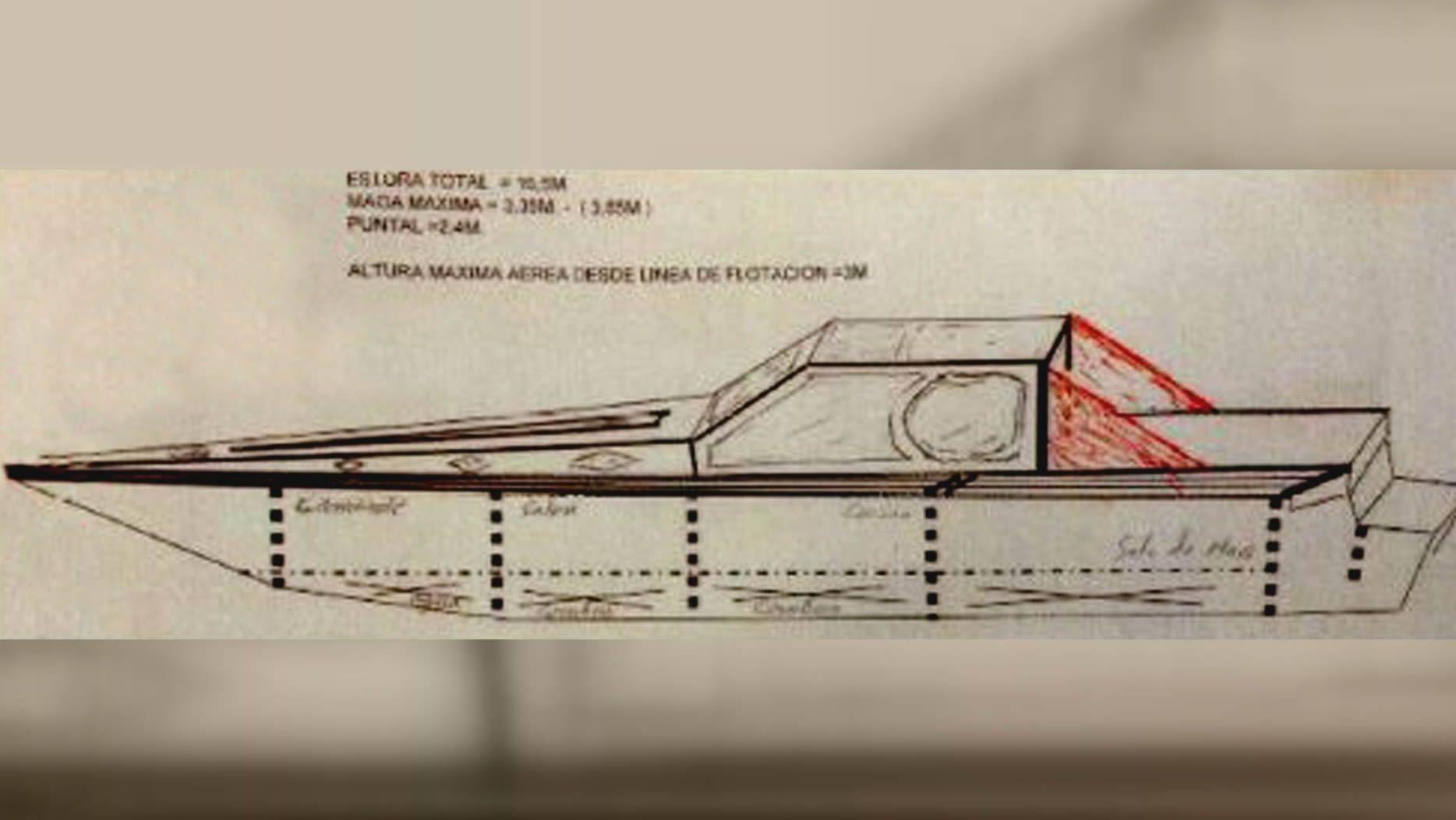 Diseño dibujado de la narcolancha