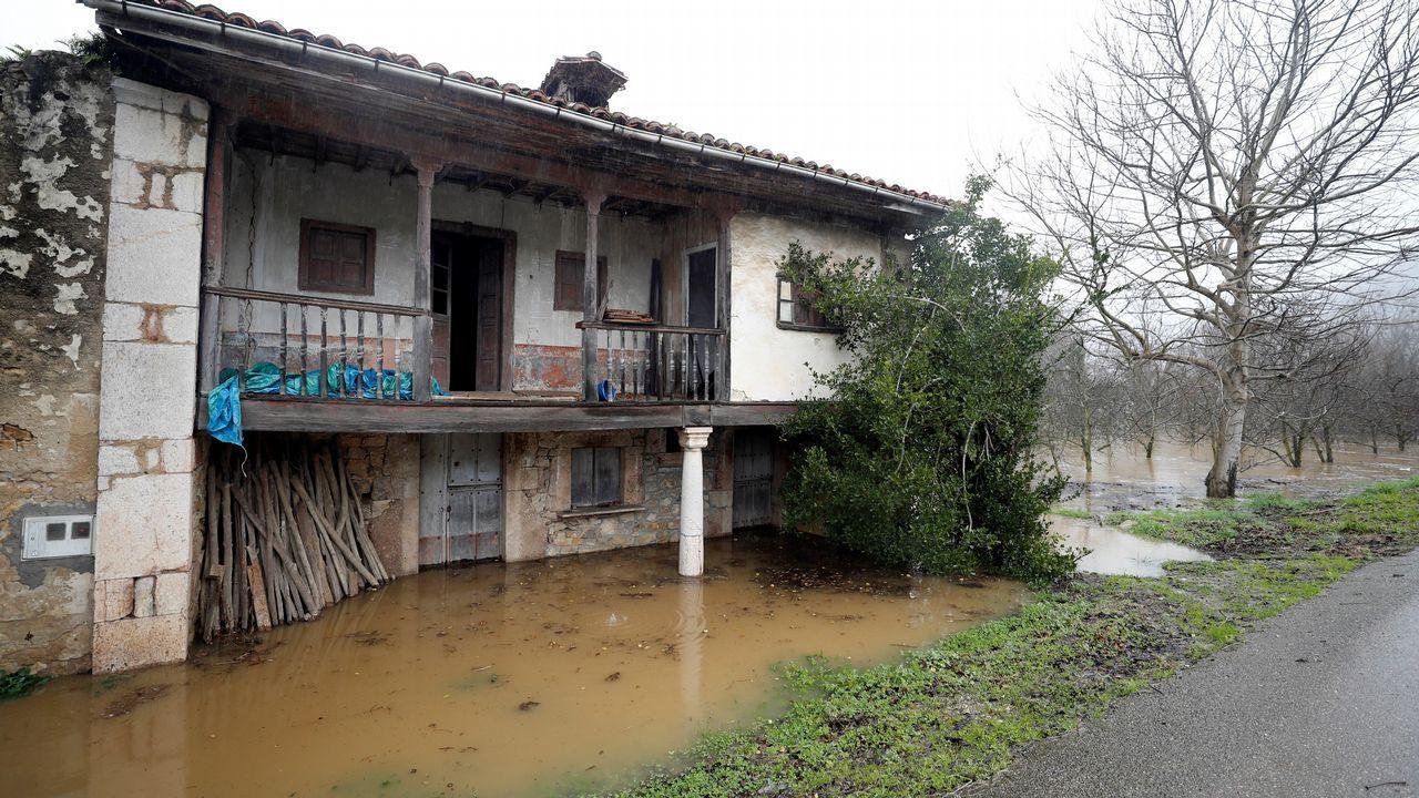 ista del Sella desbordado a su paso por Santianes (Arriondas)