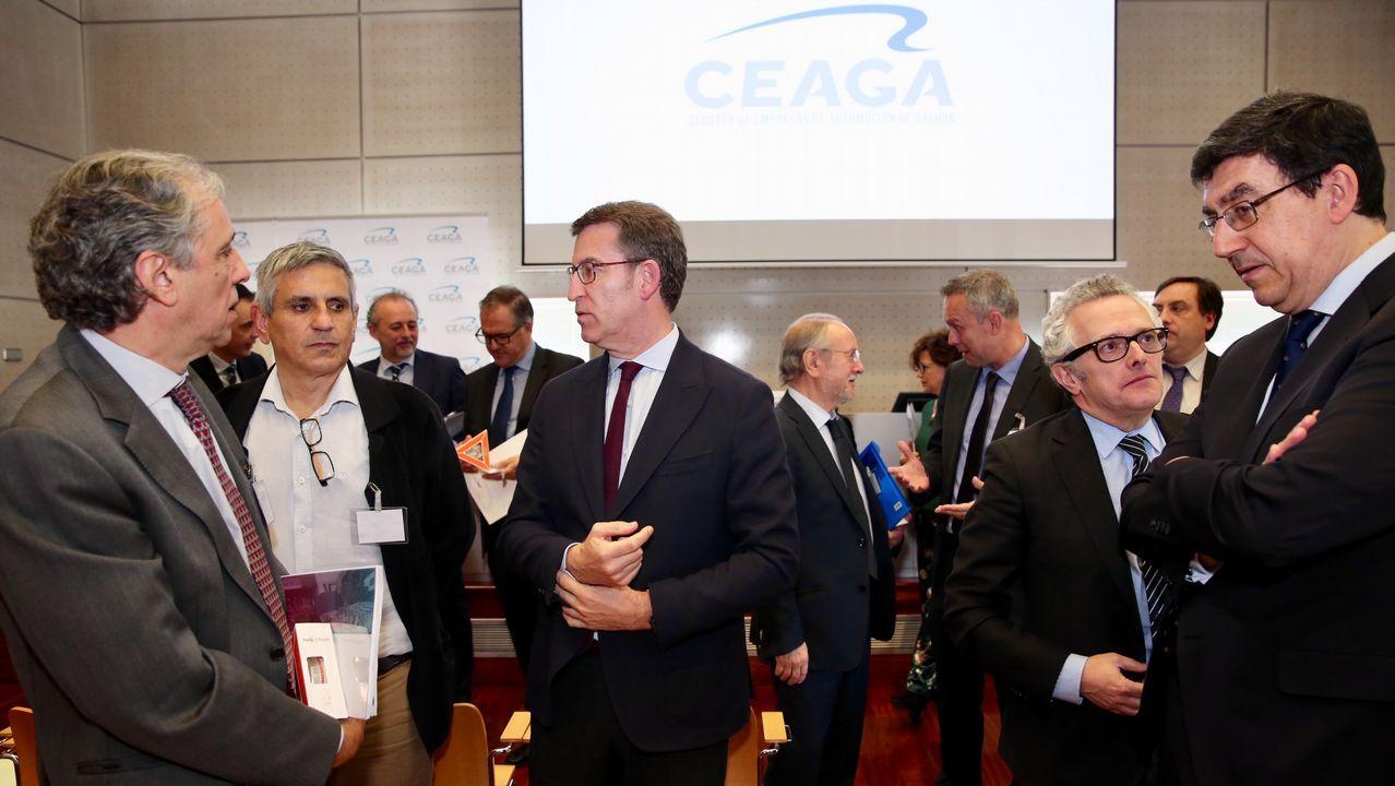 Feijoo felicita a la industria de la automoción por sus resultados.Leopoldo Satrústegui, director general de Hyundai España, tras recibir el premio, junto a Javier Menéndez, editor del grupo Automoción Press.
