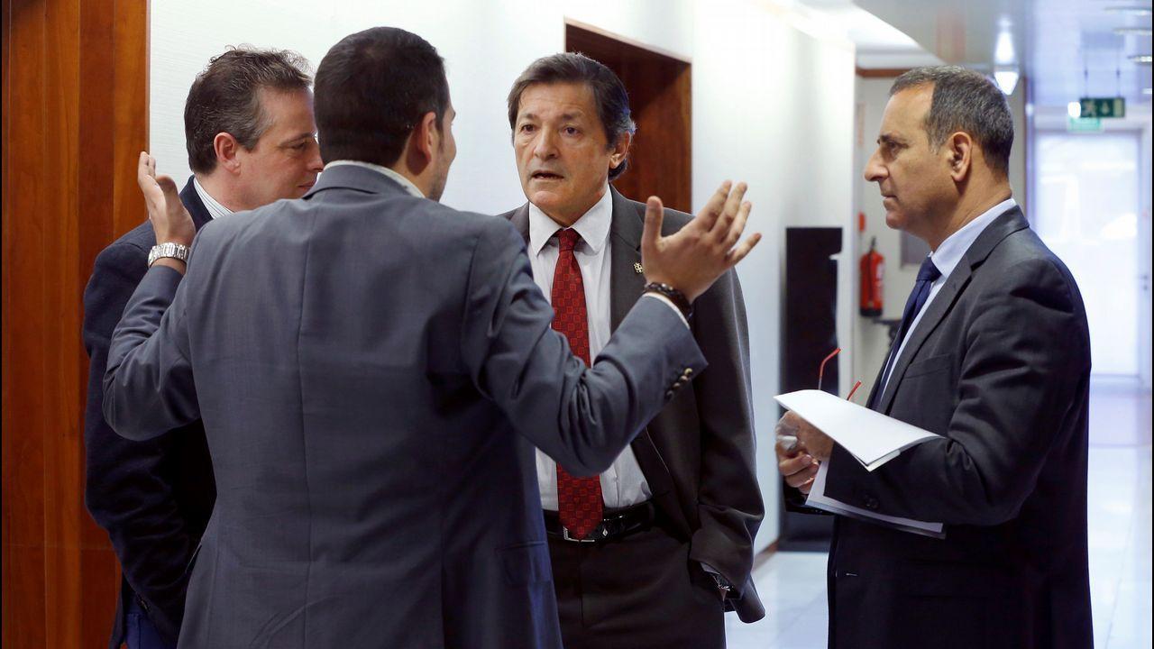 El presidente del Principado, Javier Fernandez (2d), acompañado del consejero de Infraestructuras, Ordenación del Territorio y Medio Ambiente, Fernando Lastra (d) y los diputados de su partido, Marcelino Lindez (i) y Nino Torre (2i), en los pasillos de la junta