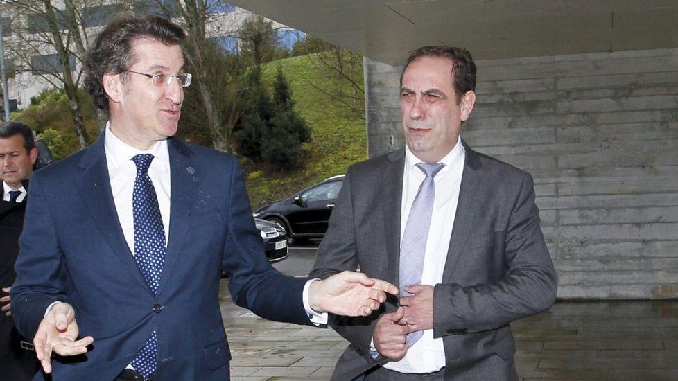 Valeriano Martínez, con Feijoo en Santiago