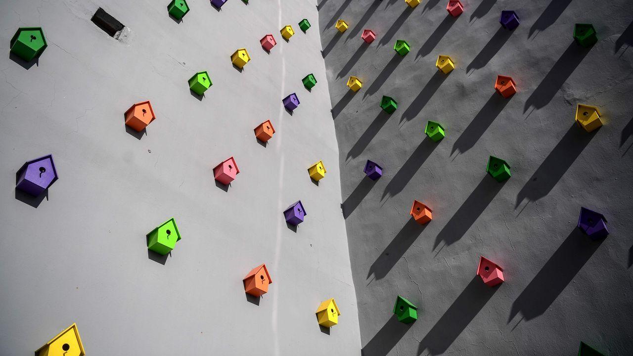 Instalación artística del turco Yan Kose con cajas para anidar de pájaros, en Estambul