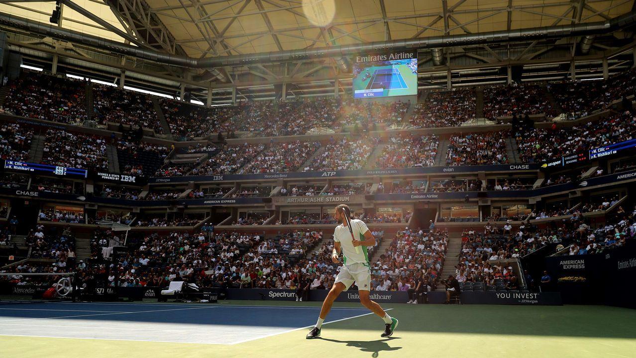 .Marin Cilic, de Croacia, disputa un partido en el US Open de Nueva York