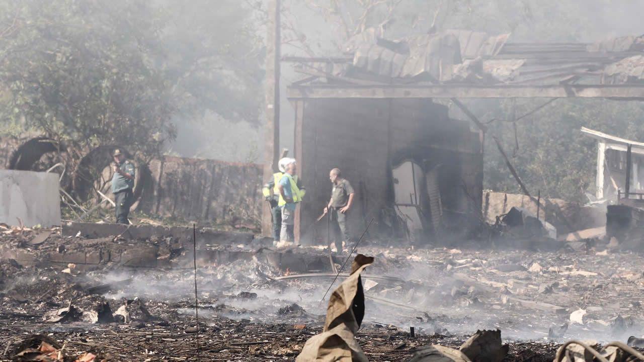 Así está la zona de la explosión en Tui.