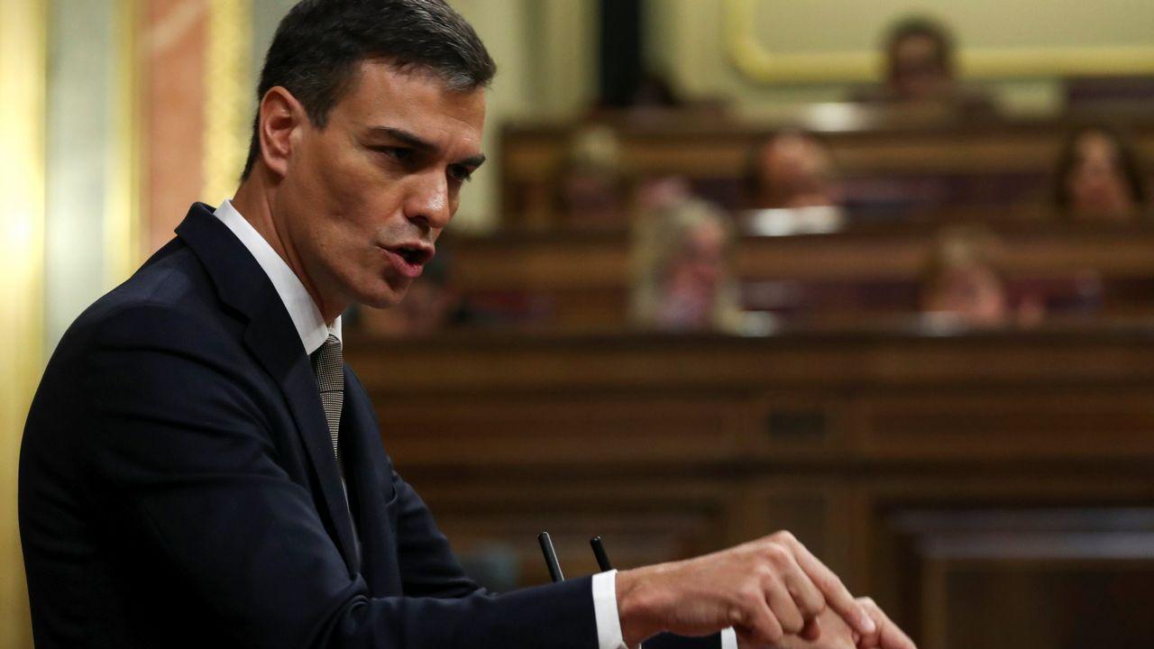 «Dimita y la moción habrá terminado», le ha dicho Pedro Sánchez a Rajoy durante su intervención en la moción de censura.