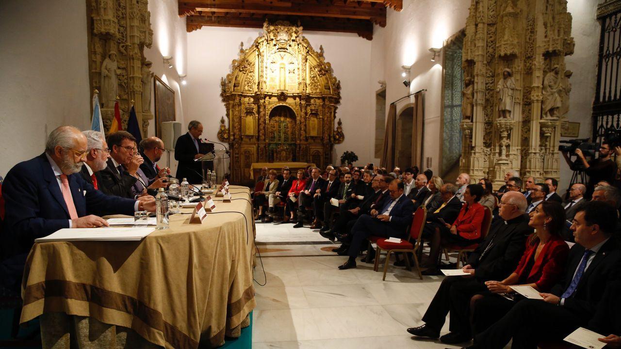 El Rey visita las obras de la Catedral y se muestra «maravillado» con el Pórtico.Diana Agram Érika Diz, Alipio Santiago y Marta García