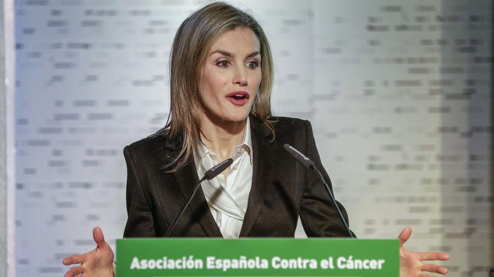 La reina Letizia durante su intervención en un foro organizado por la Asociación Española contra el Cáncer.