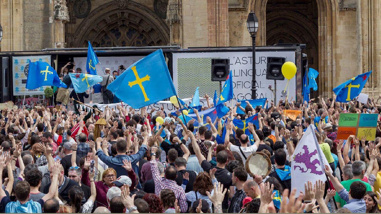 Vista una manifestación en Oviedo de la Xunta pola Defensa de la Llingua Asturiana para reivindicar la oficialidad del asturiano en el Principado