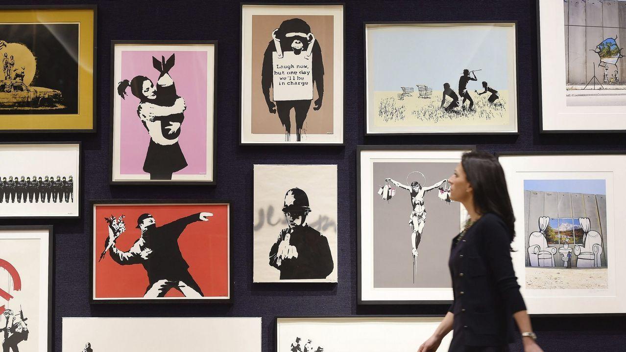 Máxima expectación en París por la subasta de varias obras de Bansky