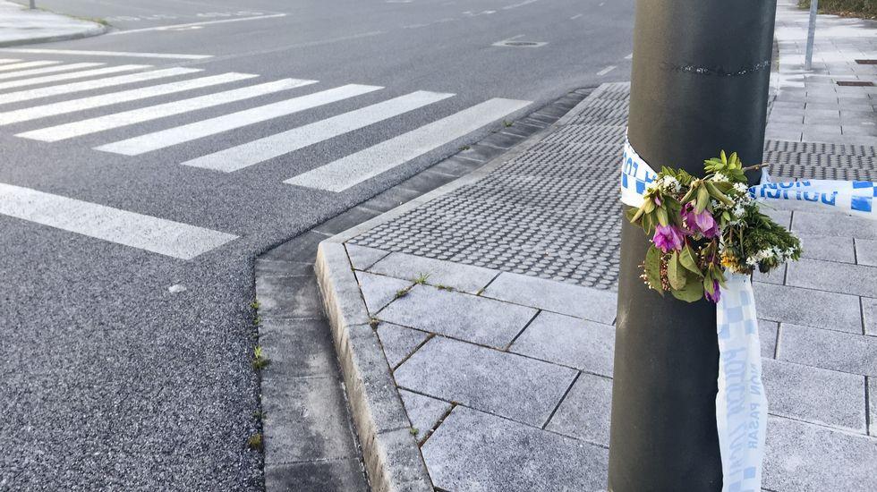 María Luisa Hermida Fernández conductora de la empresa de autobuses de Darriba.Alguien deja flores en el lugar del crimen.