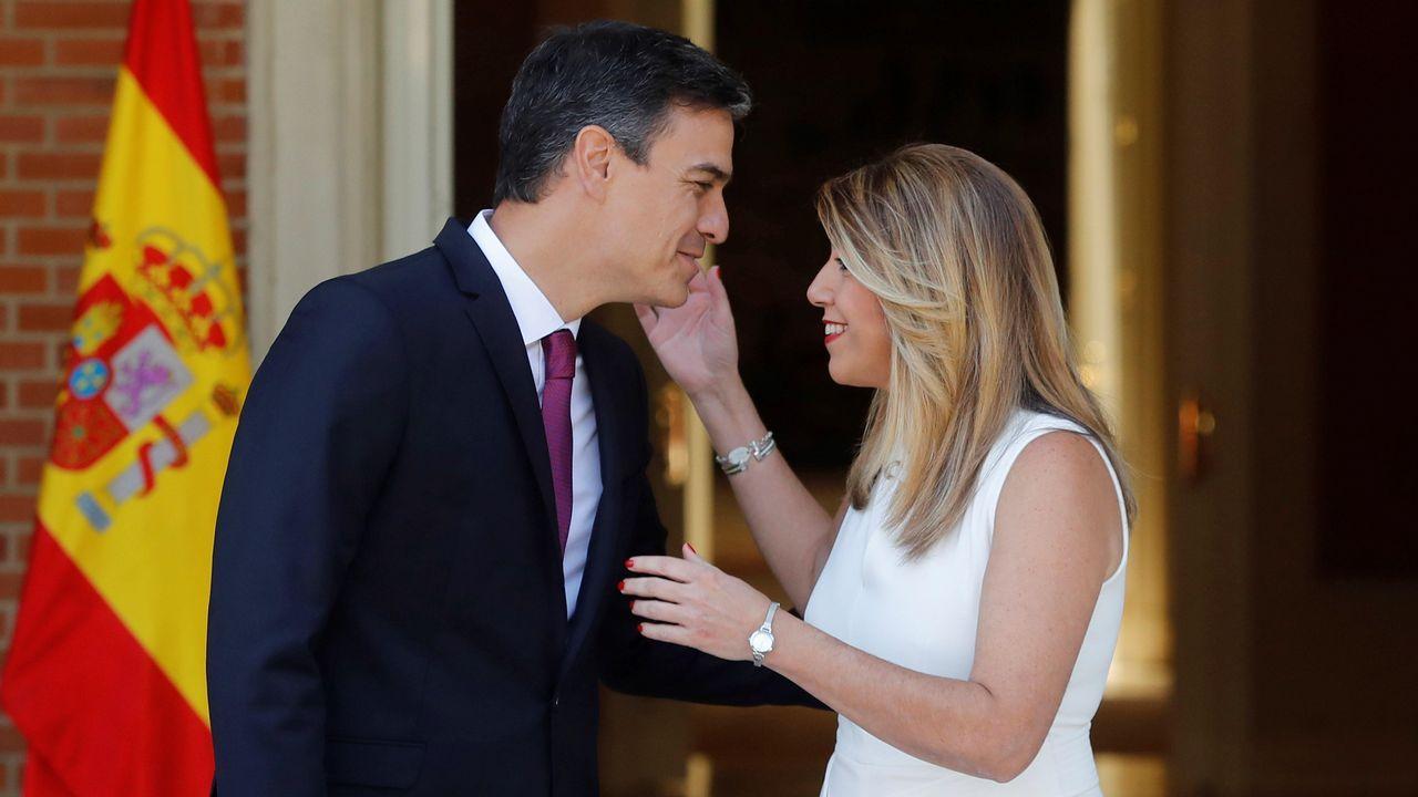 Pedro Sánchez recibe a Susana Díaz en la Moncloa.