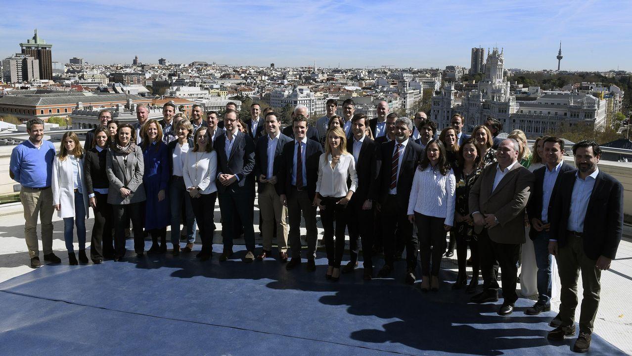 Feijoo, en un encuentro con afiliados en Allariz.Presentación en Madrid de los cabeza de lista del PP para el 28A