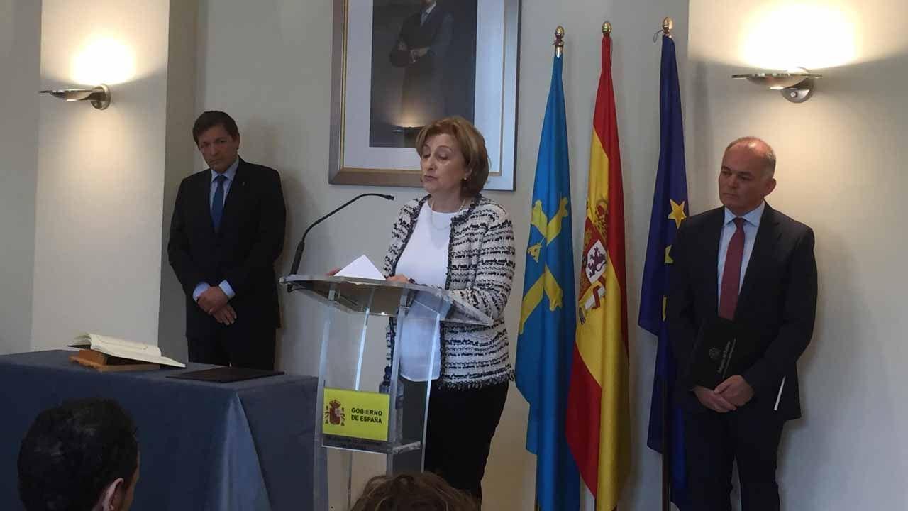 Castillete del pozo Maria Luisa.Delia Losa toma poseisón de su cargo como delegada de Gobierno