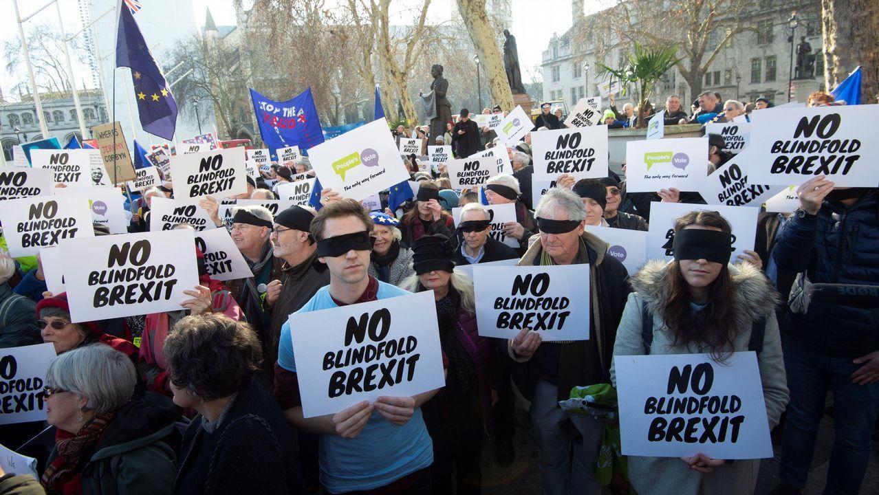 Activistas proeuropeos en una protesta en Londres