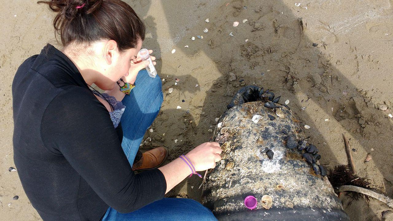 La investigadora de la Universidad de Oviedo Sabine Rech, en una playa