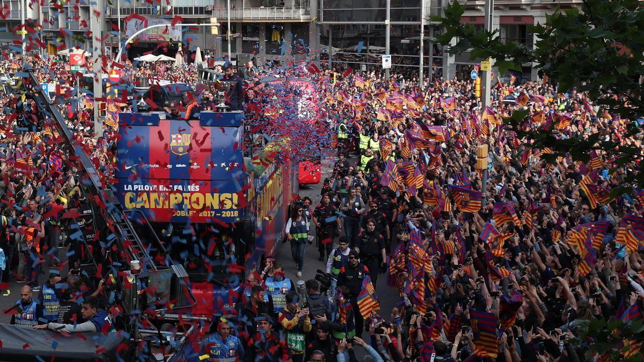 Las mejores imágenes de la celebración liguera del Barça.