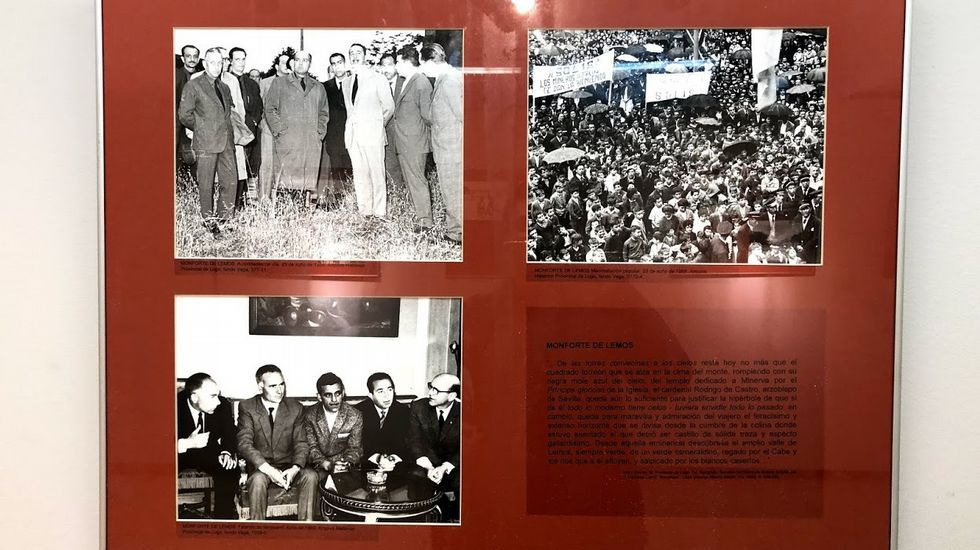 Fotografías históricas de Monforte en uno de los paneles que forman la exposición