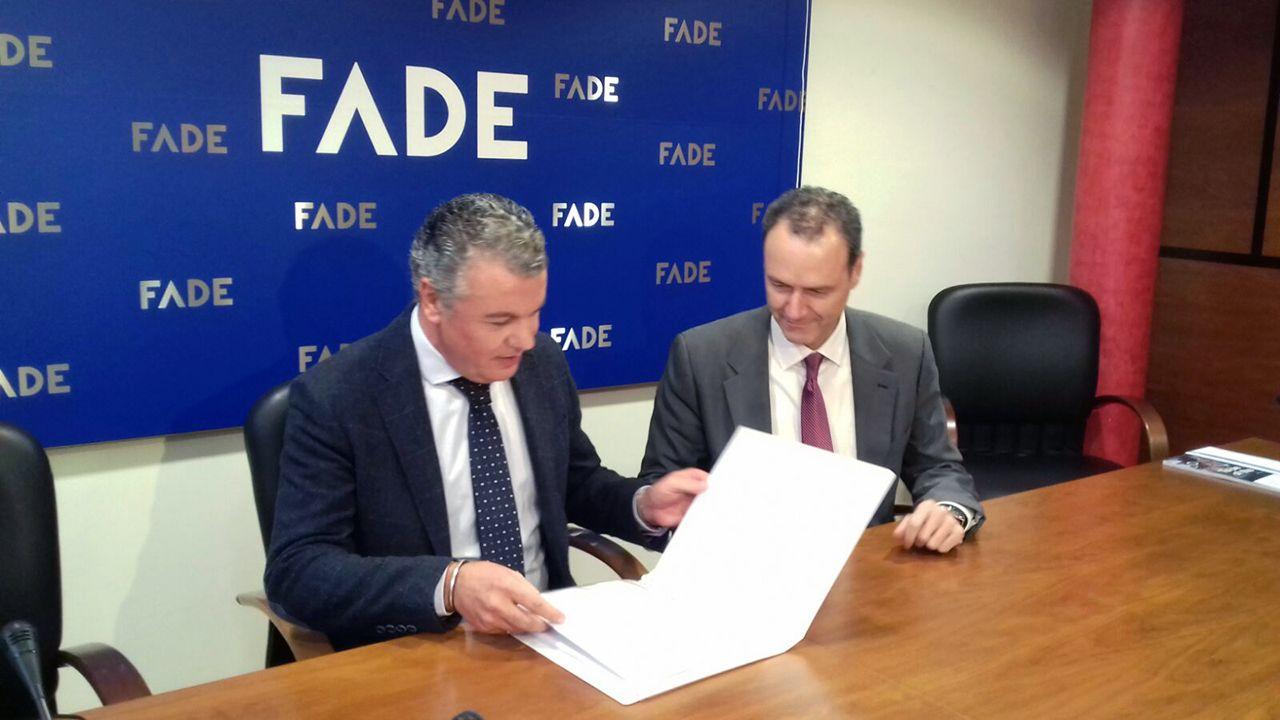 Belarmino Feito, nuevo presidente de FADE.Belarmino Feito presenta su candidatura a FADE junto a Alberto González, secretario general de la patronal