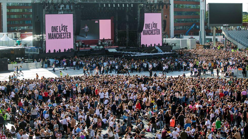 Vista general del Manchester Arena poco antes de comenzar el concierto benéfico One Love Manchester