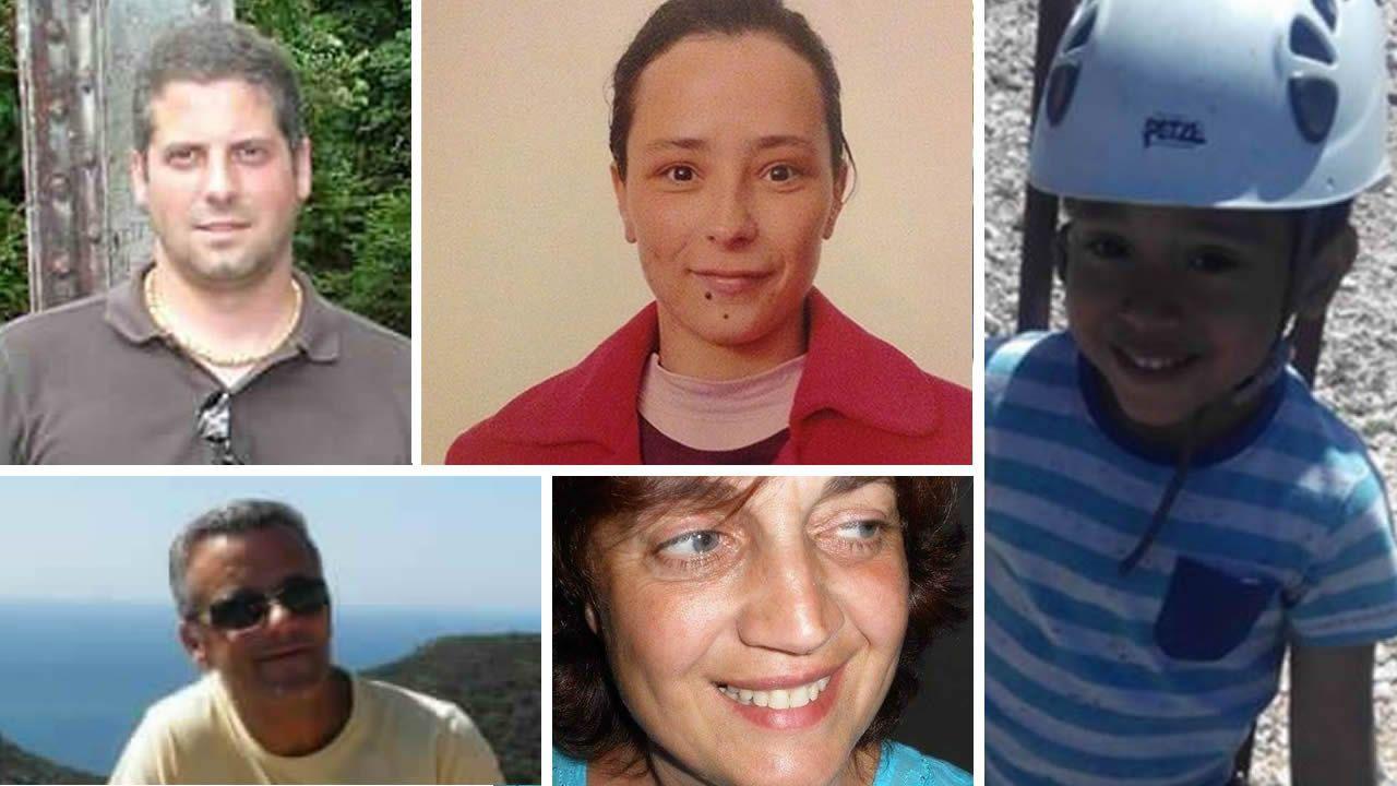 Arriba, a la izquierda, Fernando Rui Mendes; a su lado, Sara Costa; abajo, la pareja formada por Eduardo y Cristina; y a la derecha, el pequeño Rodrigo
