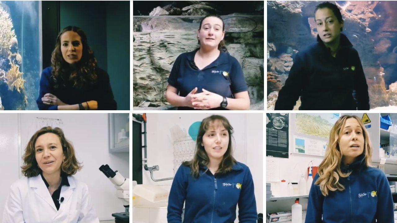 De arriba a abajo, y de izquierda a derecha, Reyes, Silvia, Jair, Susana, Merchi y Cristina, seis de las mujeres que trabajan en el Acuario de Gijón