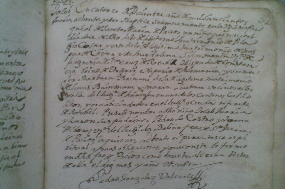 Acta bautismal de 1780 donde se anotó el nacimiento y sus padres.